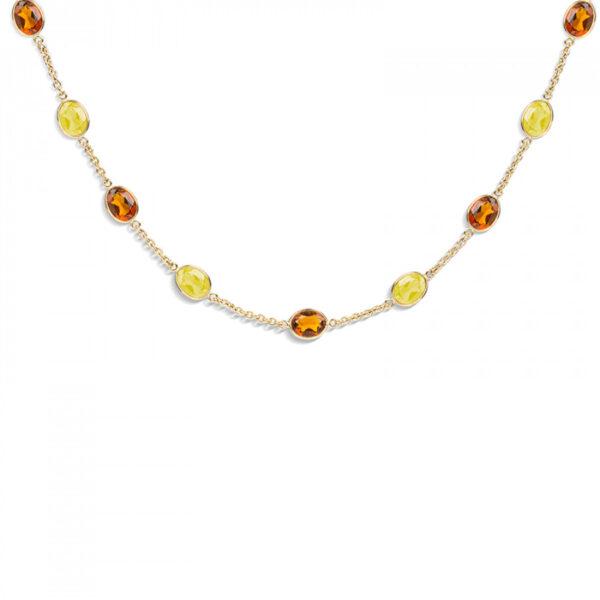 18ct Gold Light and Dark Citrine Gemstone Necklace