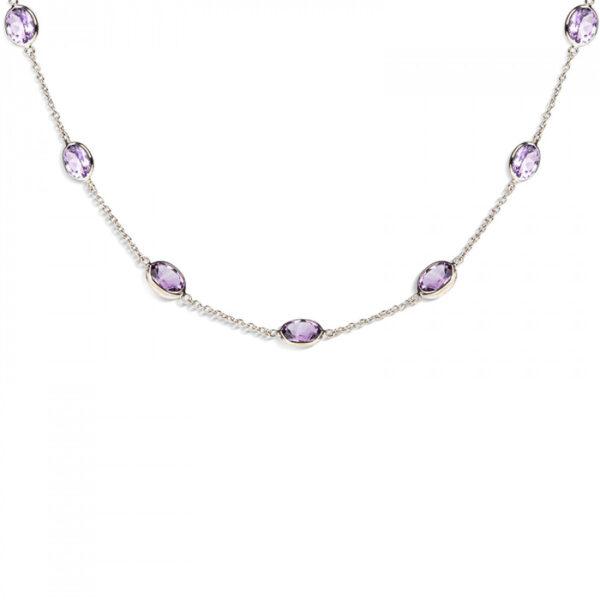 18ct White Gold Amethyst Gemstone Necklace