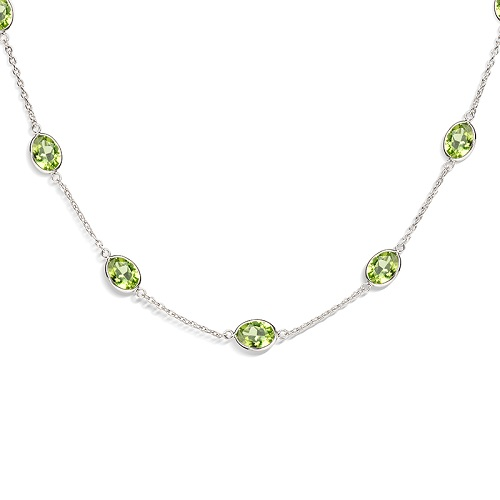 18ct White Gold Peridot Necklace