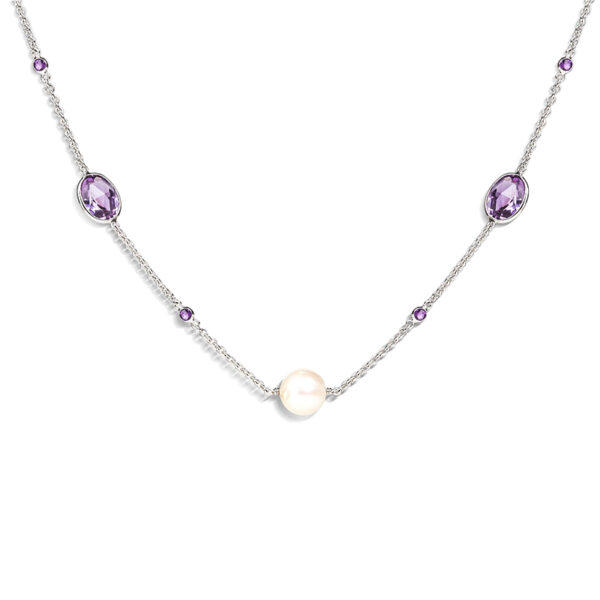 18ct White Gold Amethyst and Pearl Necklace