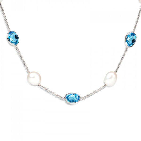 18ct White Gold Blue Topaz and Pearl Necklace