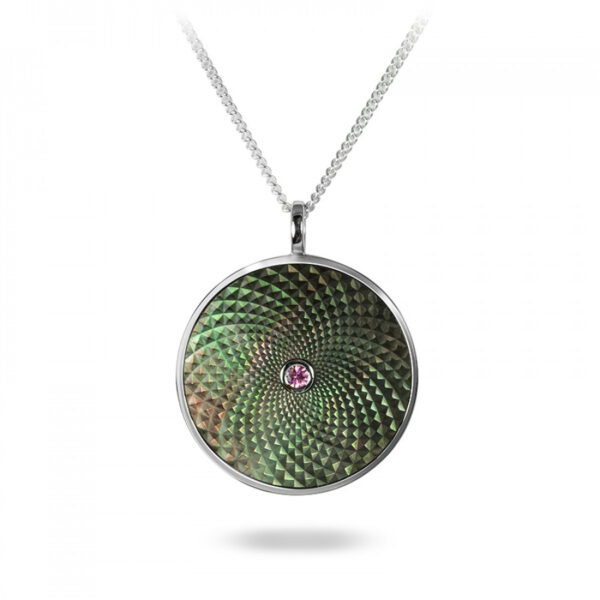 Sterling Silver Large Pendant with Grey Mother-of-Pearl and Pink Sapphire Gem