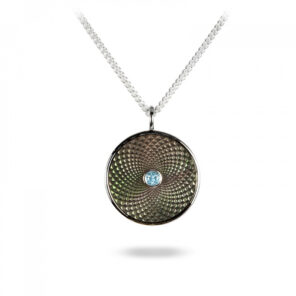 Sterling Silver Small Pendant with Grey Mother-of-Pearl and an Aquamarine Gem