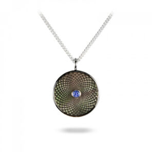 Sterling Silver Small Pendant with Grey Mother of Pearl and a Blue Sapphire Gem