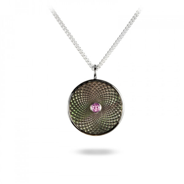 Sterling Silver Small Pendant with Grey Mother-of-Pearl and a Pink Sapphire Gem