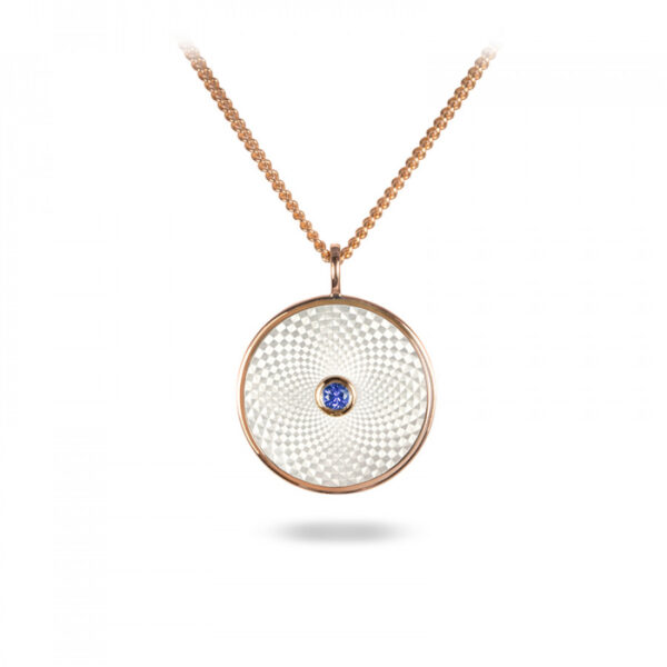 Sterling Silver Small Pendant with White Mother of Pearl and a Blue Sapphire Gem