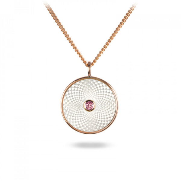 Sterling Silver Small Pendant with White Mother-of-Pearl and a Pink Sapphire Gem