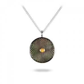 Sterling Silver Small Pendant with Grey Mother-of-Pearl and a Yellow Sapphire Gem