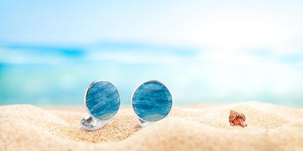 Sterling Silver Turquoise Ocean Haze Cufflinks