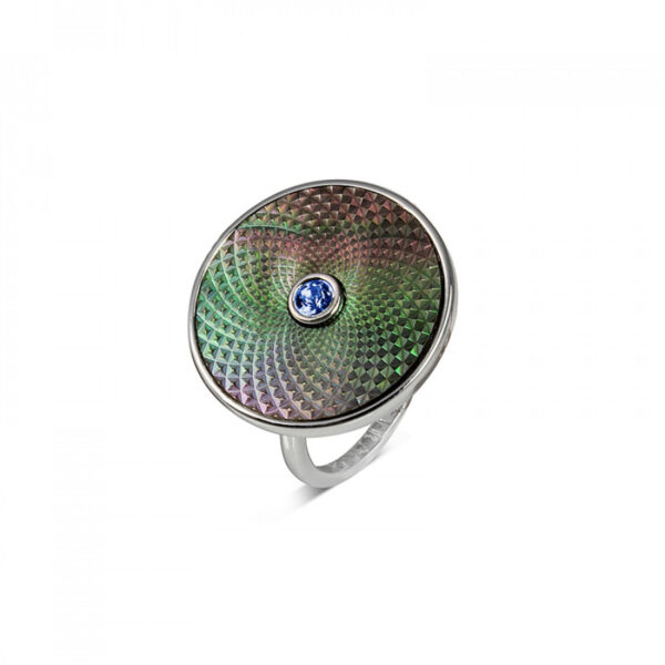 Sterling Silver Grey Mother-of-Pearl Ring with Blue Sapphire Gem