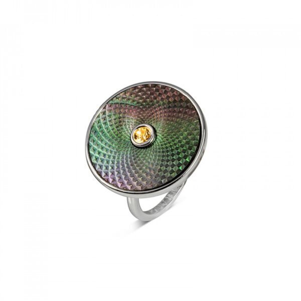 Sterling Silver Grey Mother-of-Pearl Ring with Yellow Sapphire Gem