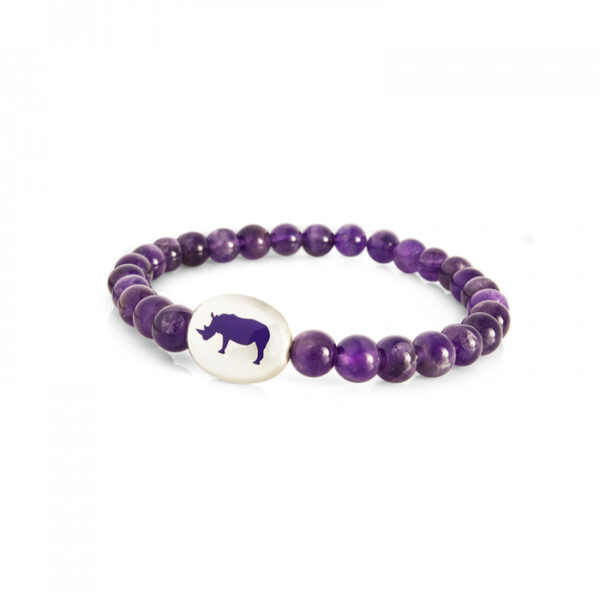 Sterling Silver Purple Bead Bracelet with Rhino Emblem