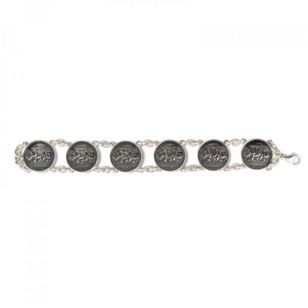 Sterling Silver Rhino 6 Disc Bracelet