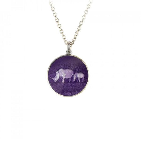 Sterling Silver Rhino Disc Pendant with Purple Enamel