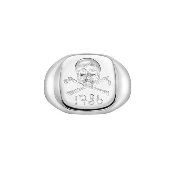 Sterling Silver Skull & Cross Bones Signet Ring