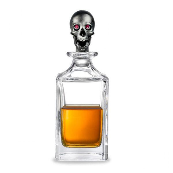 Matt Black Skull Head Crystal Decanter