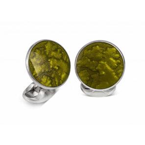 Sterling Silver Summer Haze Enamel Cufflinks in Olive Green