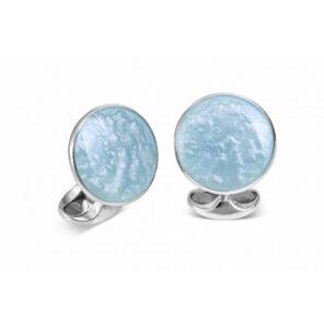 Sterling Silver Summer Haze Enamel Cufflinks in Pale Blue