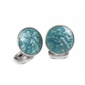 Sterling Silver Summer Haze Enamel Cufflinks in Turquoise