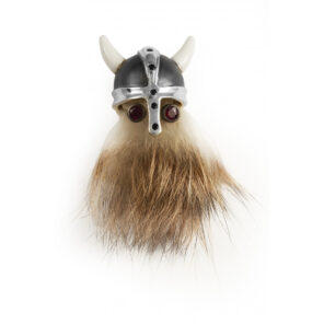 Sterling Silver Hairy Viking Lapel Pin with Black Helmet & Ruby Eyes