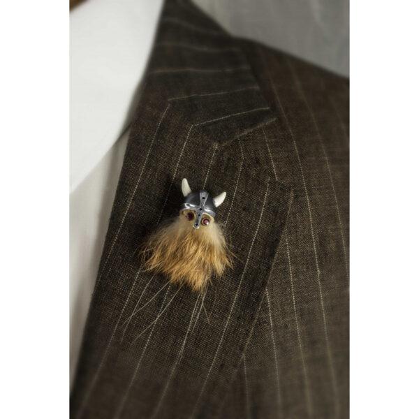 Sterling Silver Hairy Viking Lapel Pin with Black Helmet & Ruby Eyes