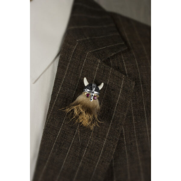 Sterling Silver Hairy Viking Lapel Pin with Black Spinel Helmet & Ruby Eyes