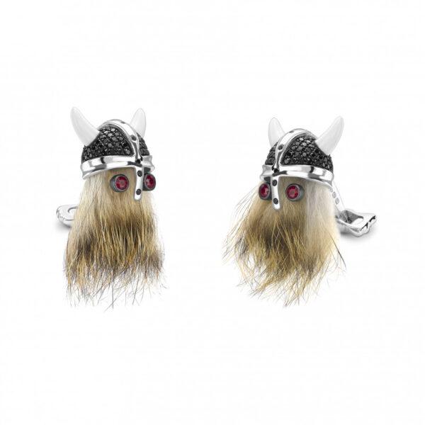 Hairy Viking Skull with Black Spinel Helmet and Ruby Eye Cufflinks