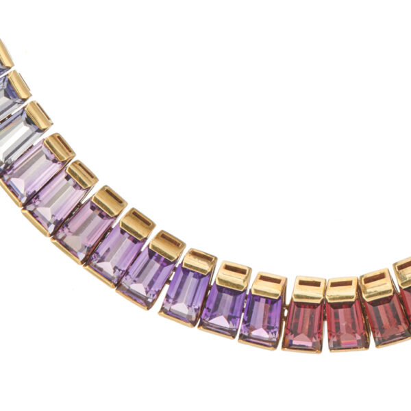18ct Yellow Gold Rainbow Multi Gemstone Necklace