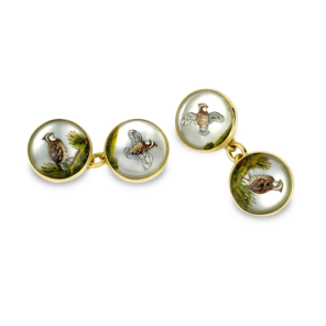 18ct Yellow Gold Hand Painted Rock Crystal Owl Cufflinks With Chain Link Fitting