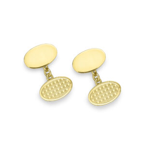 18ct Yellow Gold Plain and Engine Turned Oval Cufflinks