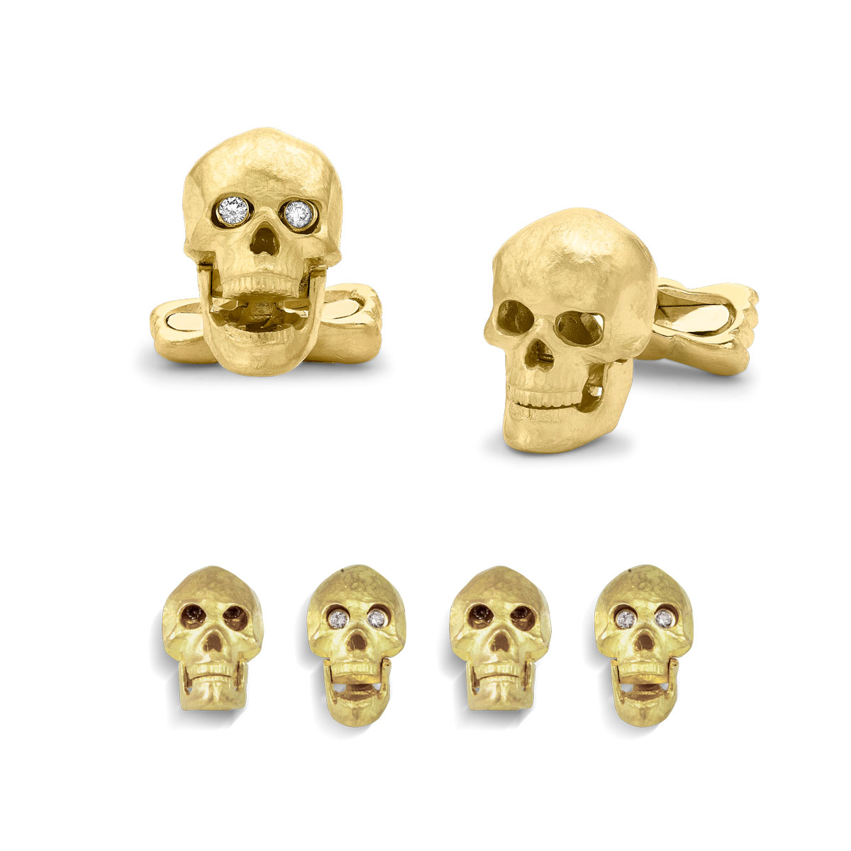18ct Yellow Gold Skull Dress Set With Diamond Eyes