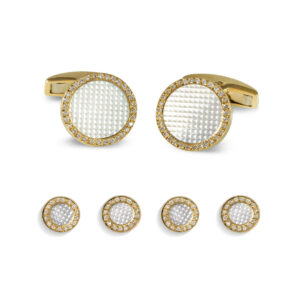 18ct Yellow Gold Round Hobnail Dress Set with Diamond Border