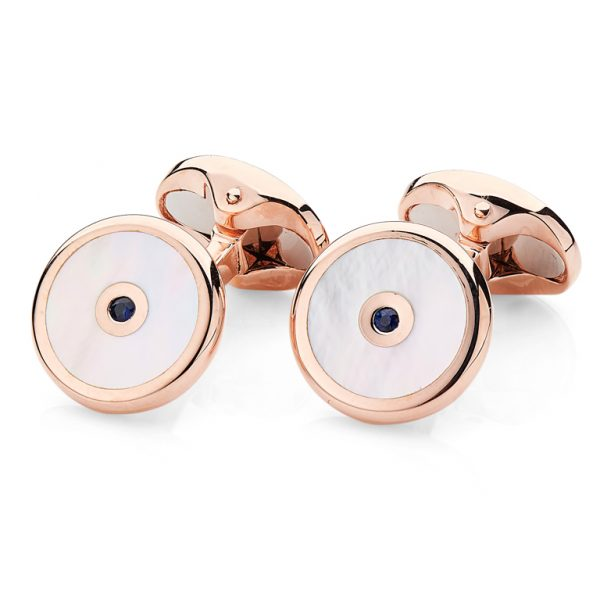 Sterling Silver Mother of Pearl And Sapphire Cufflinks In Rose Gold