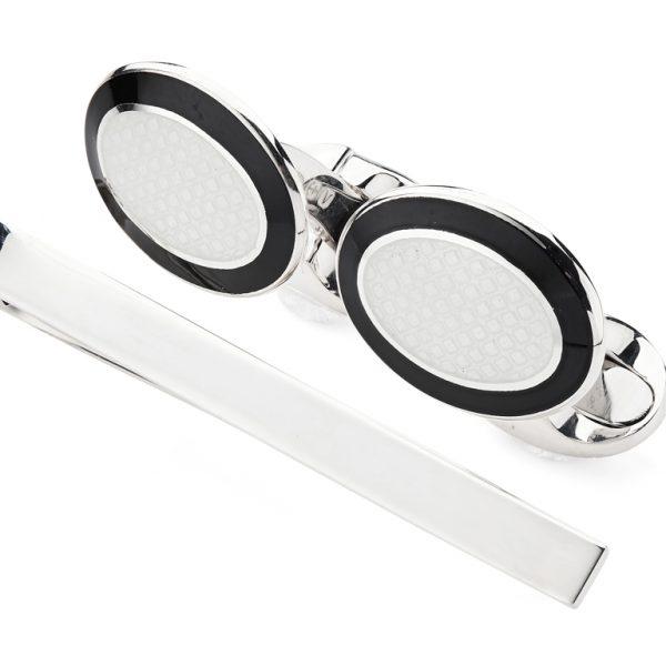 Sterling Silver Enamel Cufflinks and Tie Slide Set