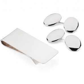Sterling Silver Plain Oval Cufflinks and Money Clip Set