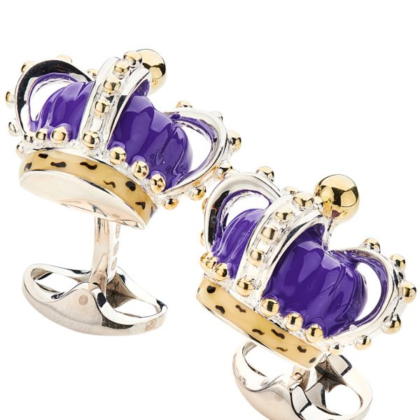 Sterling Silver Purple Crown Cufflinks