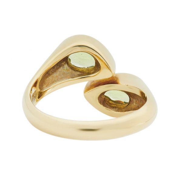 18ct Yellow Gold Peridot Cross Over Ring