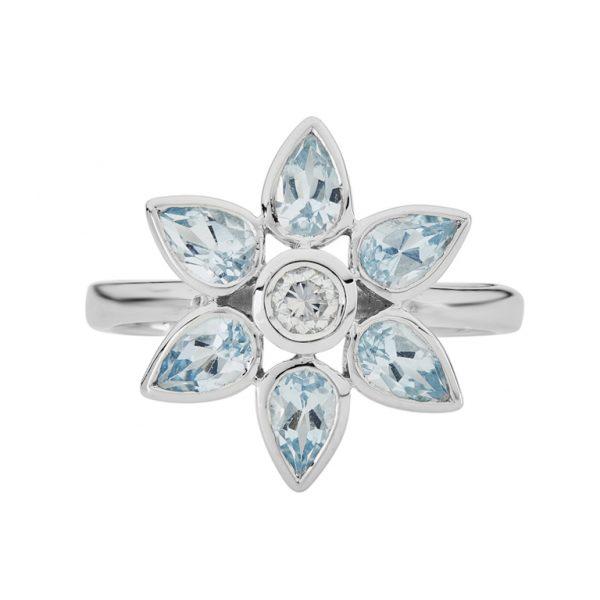 18ct White Gold Aquamarine and Diamond Petal Cluster Ring