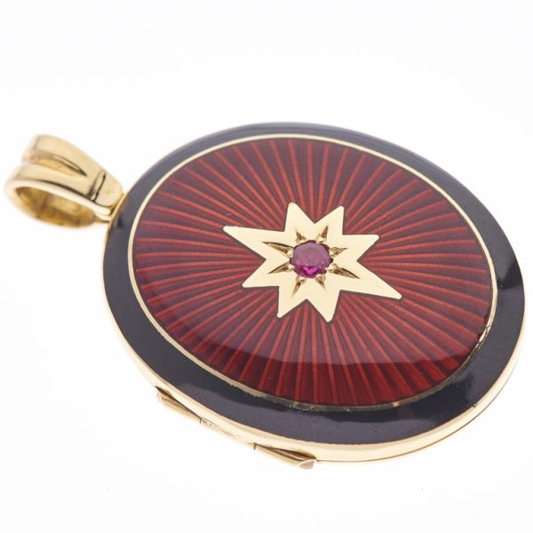 18ct Yellow Gold Red and Black Enamel Locket with Ruby Centre