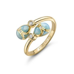 Fabergé Heritage Yellow Gold Turquoise Guilloché Enamel Crossover Ring