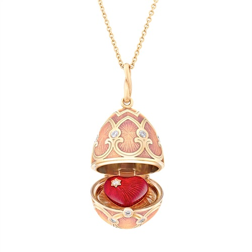 Fabergé Heritage Rose Gold Pink Guilloché Enamel Heart Surprise Locket