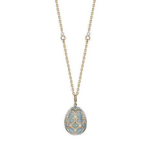Fabergé Heritage Yellow Gold Turquoise Guilloché Enamel Grand Egg Pendant