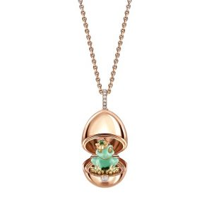 Fabergé Essence 18ct Rose Gold & Green Lacquer Frog Surprise Locket