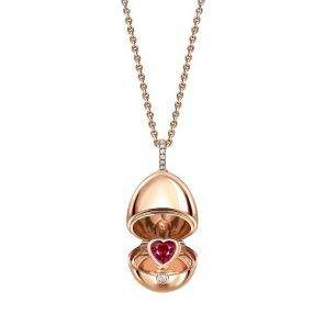 Fabergé Essence Rose Gold Ruby Heart Surprise Locket