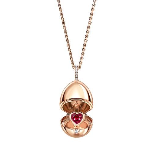 Fabergé Essence Rose Gold Ruby Heart Surprise Locket