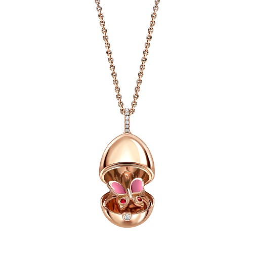 Fabergé Essence Rose Gold Ruby & Pink Lacquer Butterfly Surprise Locket