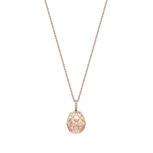 Fabergé Treillage Brushed Rose Gold & Diamond Set Egg Pendant