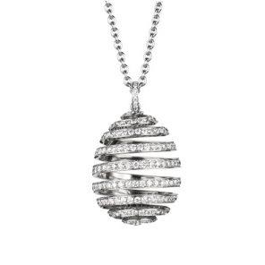 Fabergé Essence White Gold Diamond Pavé Spiral Egg Pendant
