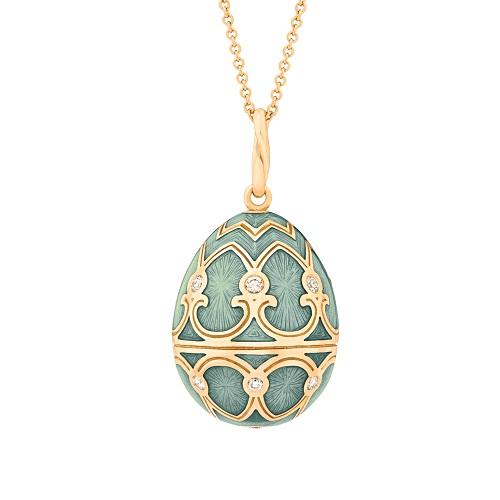 Fabergé Heritage Yellow Gold Turquoise Guilloché Enamel Egg Pendant