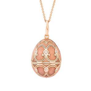 Fabergé Heritage Rose Gold Pink Guilloché Enamel Egg Pendant